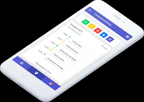 histórico de fichajes en la app móvil para el control de horas