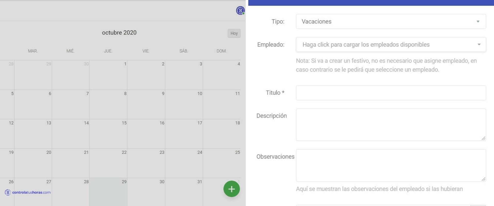 Calendario de solicitud de vacaiones