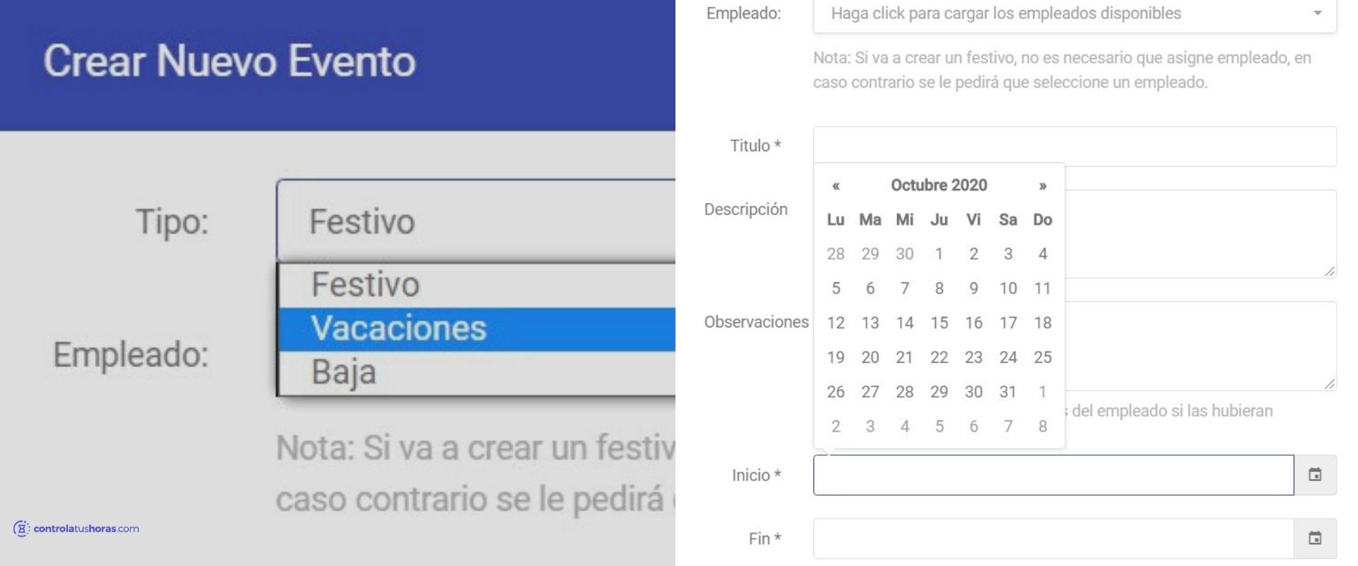 Crear un evento para solicitar vacaciones desde la app Controla Tus Horas