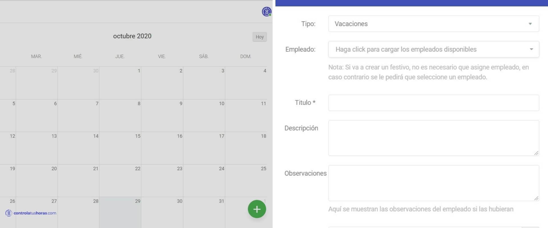 vacaciones de trabajadores, cómo poder pedirlas a través de la aplicación de controla tus horas